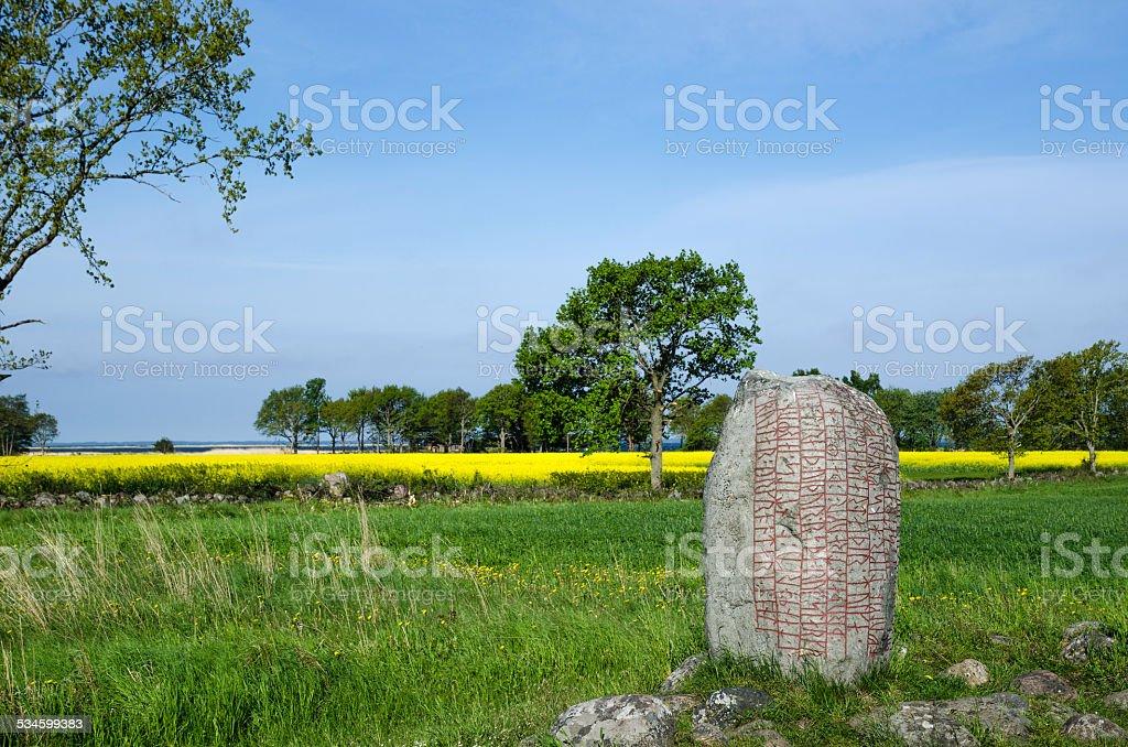 Viking age stone stock photo