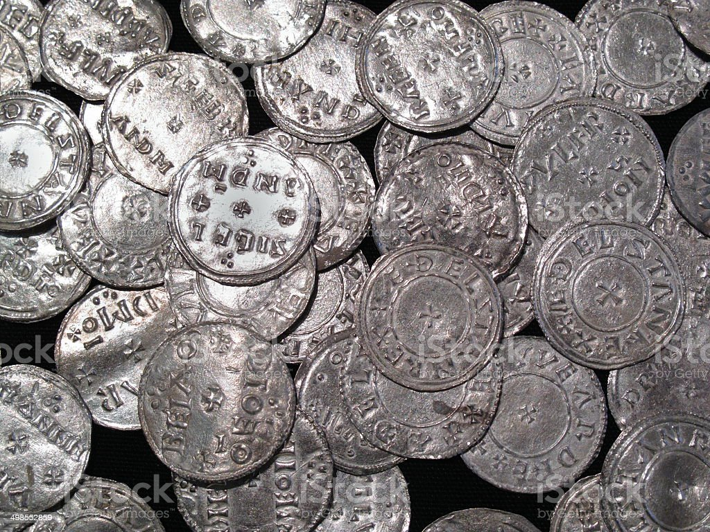 Viking And Anglo Saxon Silver Coin Hoard stock photo