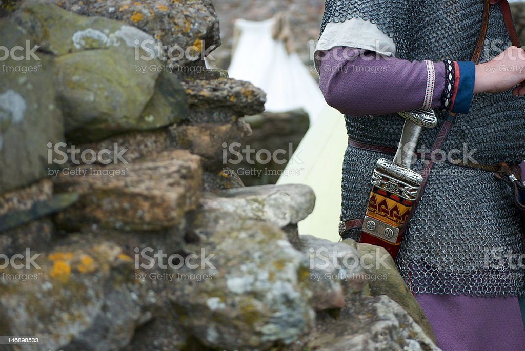 viking armour and sword stock photo