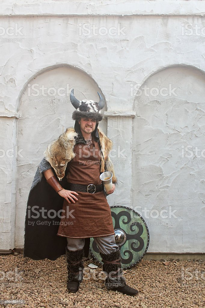 Viking Barbarian in Animal Furs with Shield stock photo