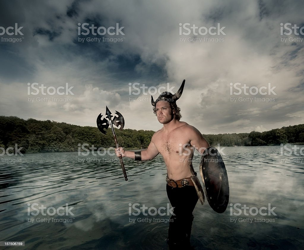 Viking coming out of the water stock photo