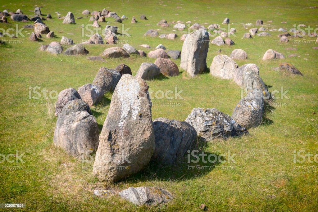 Viking grave in shape of a stone ship. stock photo