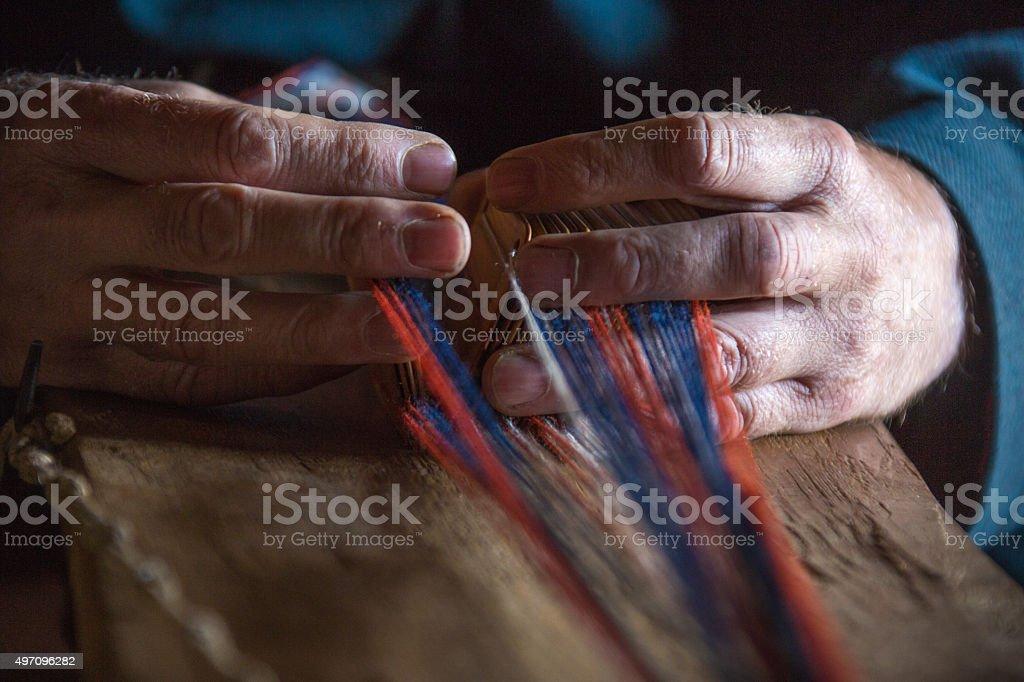 Viking Handcraft Tablet Weaving stock photo