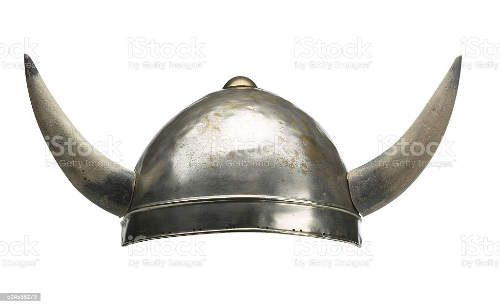 Viking hat with big horns stock photo