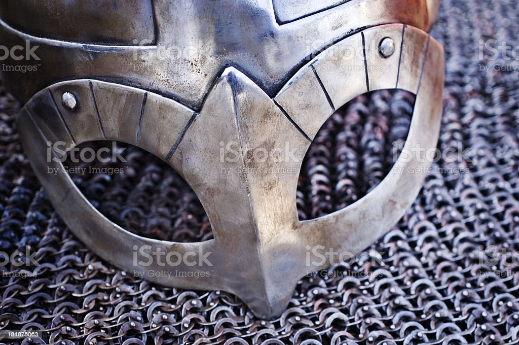 Viking Helmet and Chain Mail stock photo