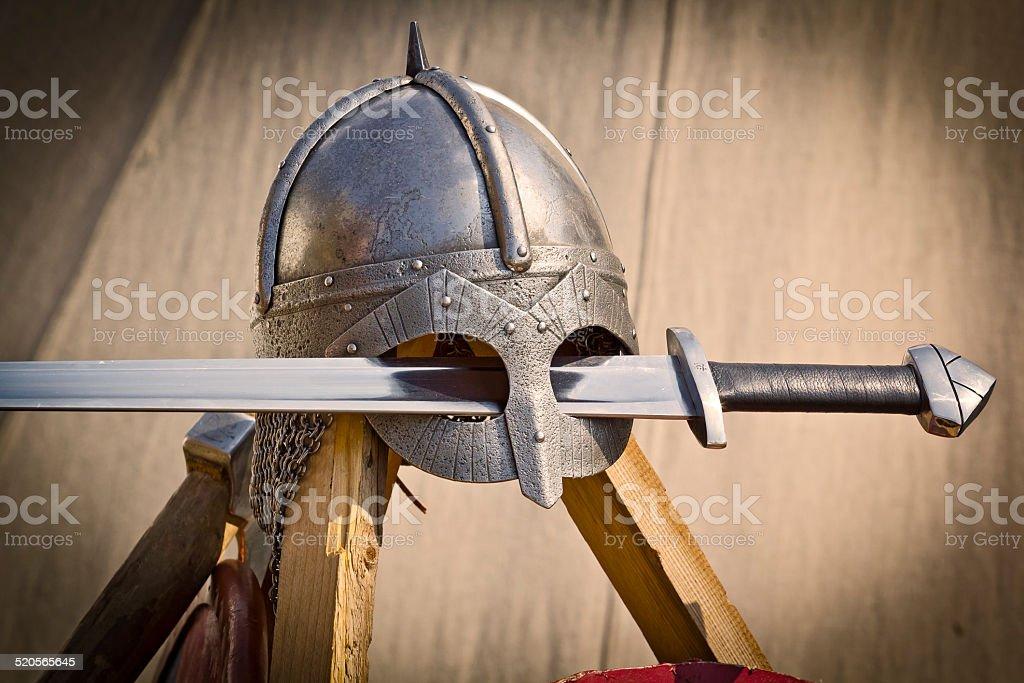Viking helmet and sword stock photo