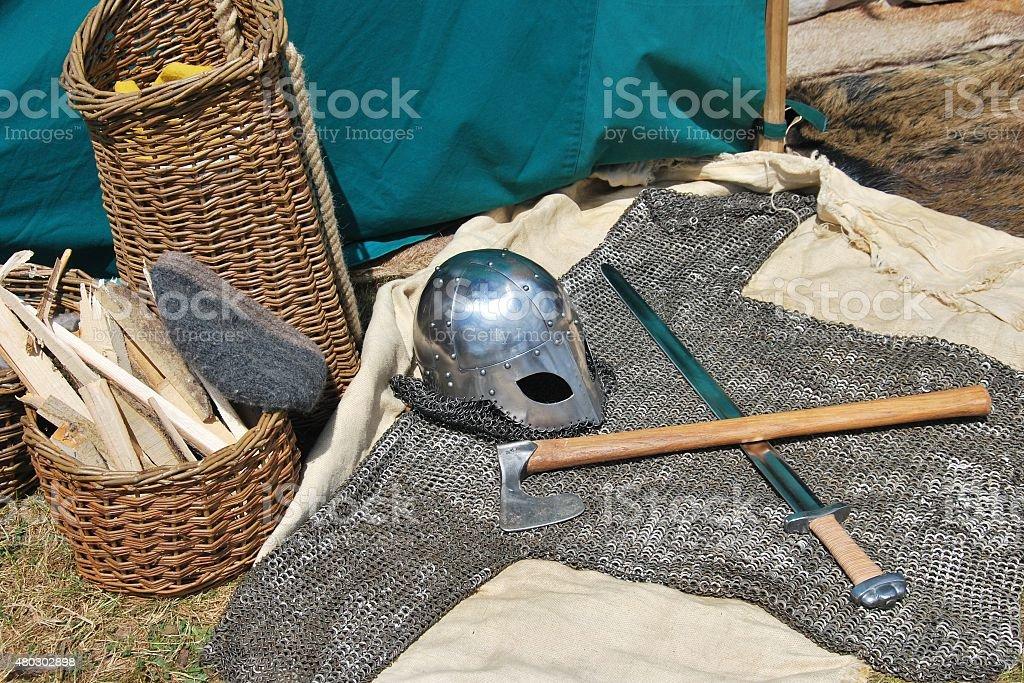 Viking Helmet on the ground stock photo