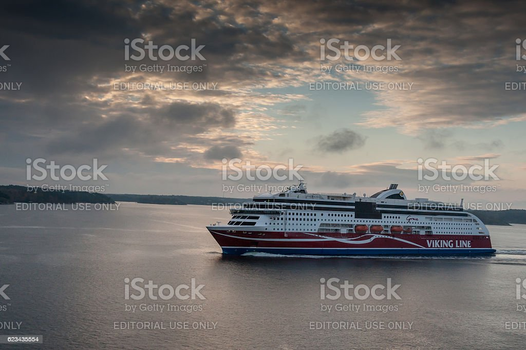Viking Line ferry float on fjords of the Baltic Sea stock photo