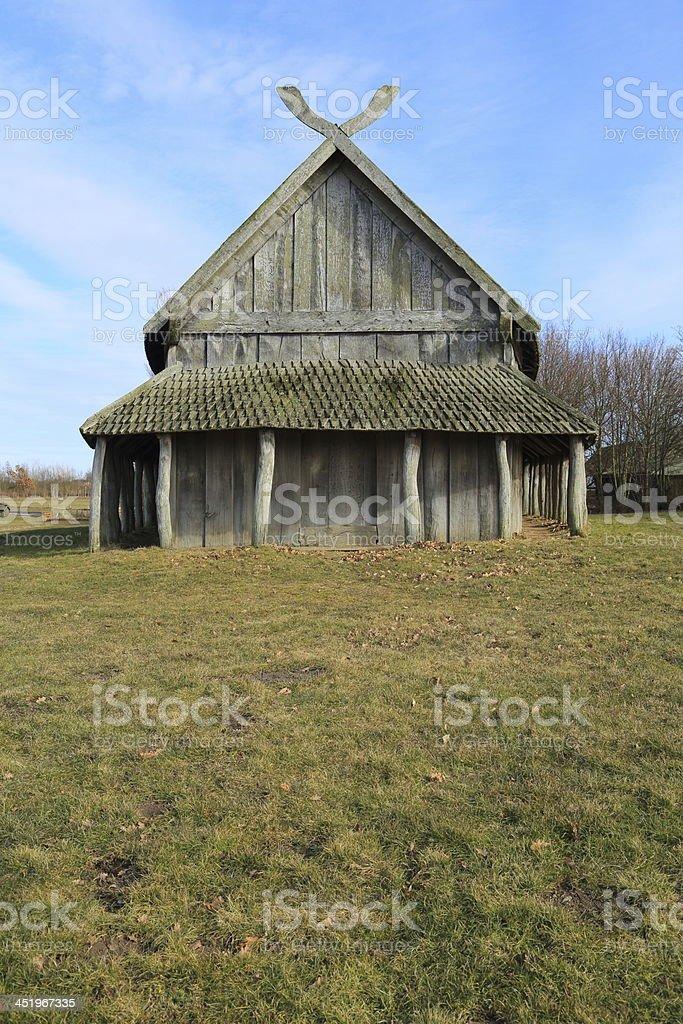 Viking Longhouse at Trelleborg circular fort, Denmark stock photo