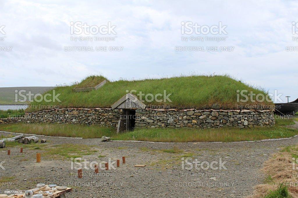 Viking longhouse stock photo