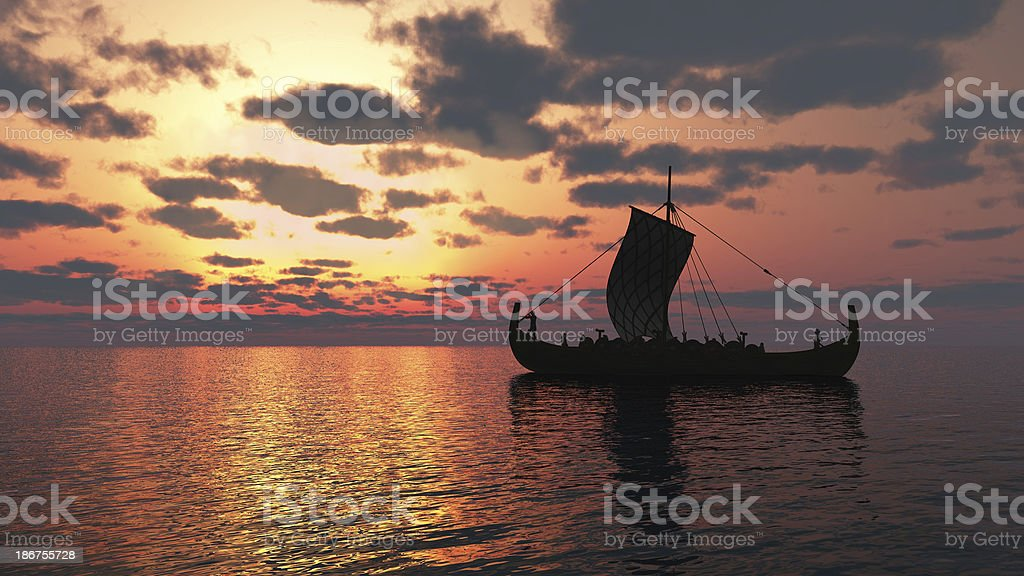 Viking Longship at Sunset stock photo