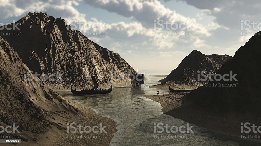 Viking Longships in Icelandic Inlet stock photo