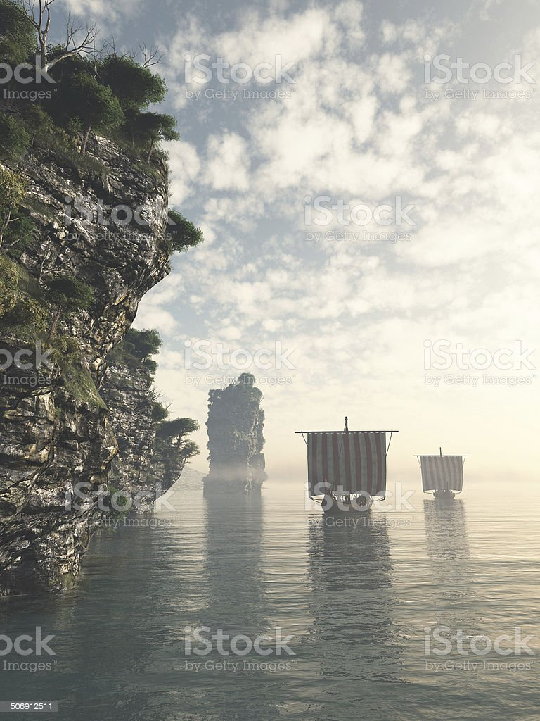 Viking Longships in Unknown Waters stock photo