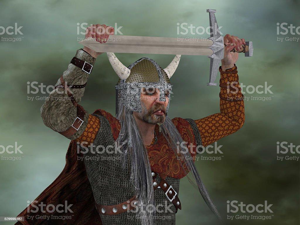 Viking Man with Sword stock photo