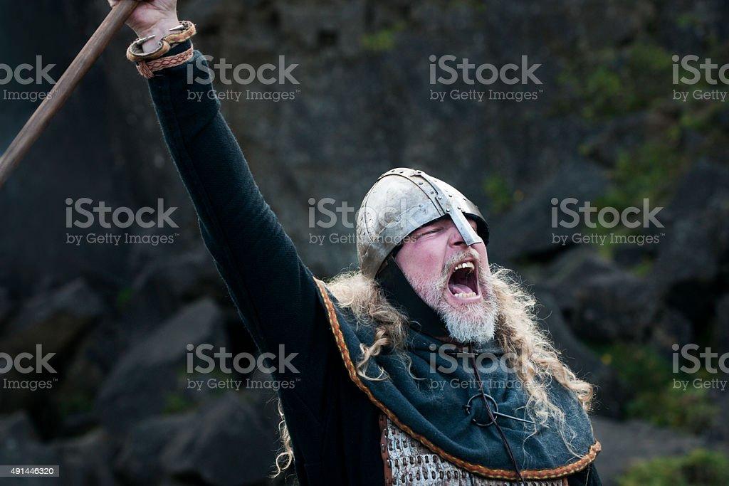 Viking man yells a victory cry stock photo