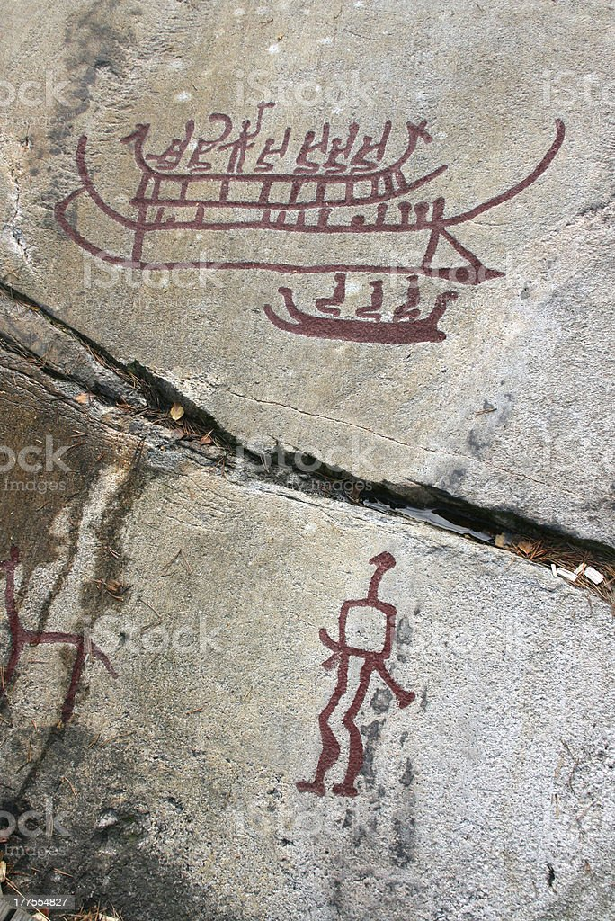 viking rock carvings at tanum in sweden, europe royalty-free stock photo
