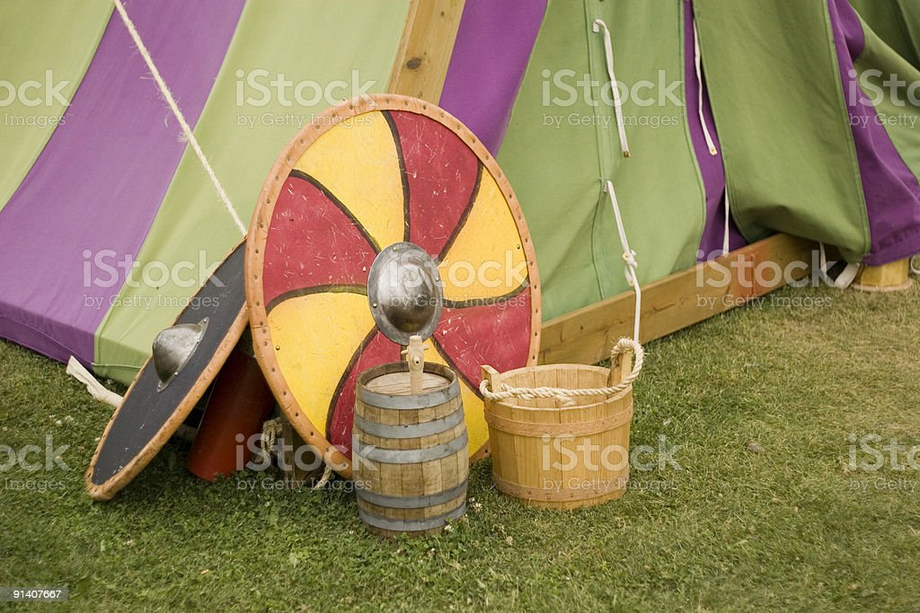 Viking shields and tent. stock photo