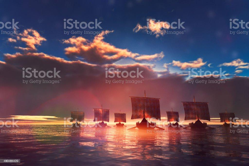 Viking ships sailing towards unknown land stock photo