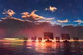 Viking ships sailing towards unknown land