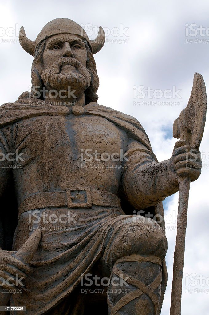 Viking statue monument of Gimli Manitoba stock photo