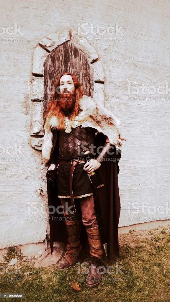Viking Warrior Armour Costumes Traveling With Female Elf, Pointy Ears stock photo