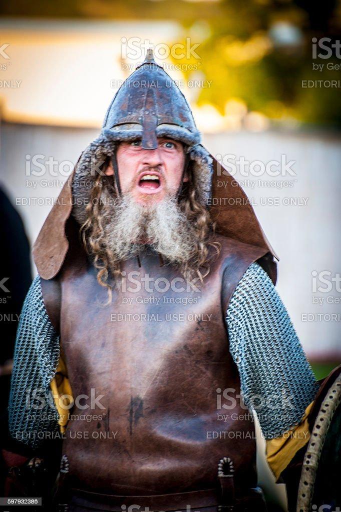 Viking warrior in reenactment battle. stock photo