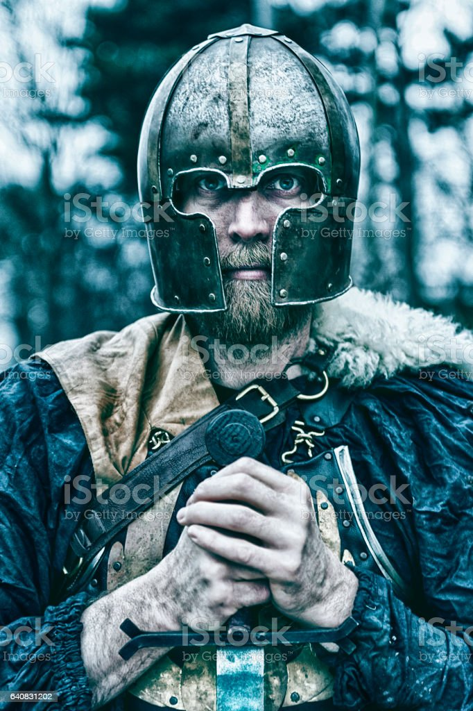 Viking warrior with helmet holds sword stock photo