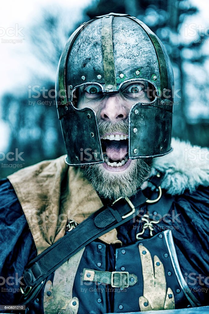 Viking warrior with helmet screams stock photo