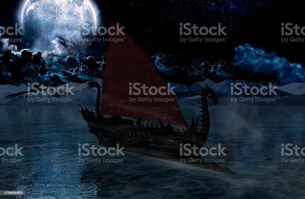 Viking warship at moonlight stock photo