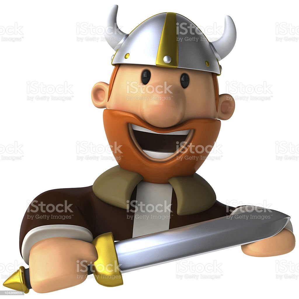 Viking with a blank sign royalty-free stock photo