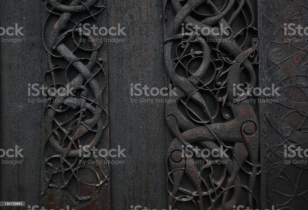 Viking woodcarving art detail stock photo