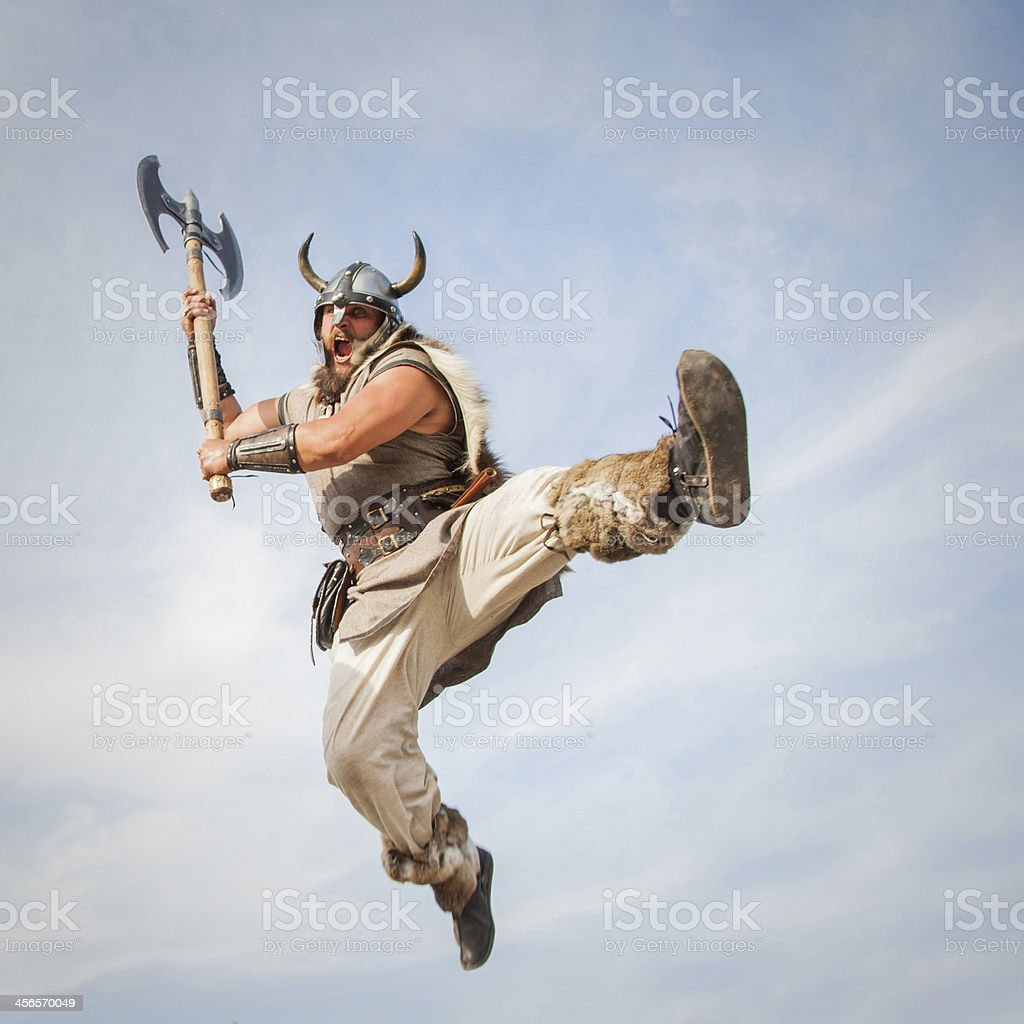 Vikings attack from sky stock photo