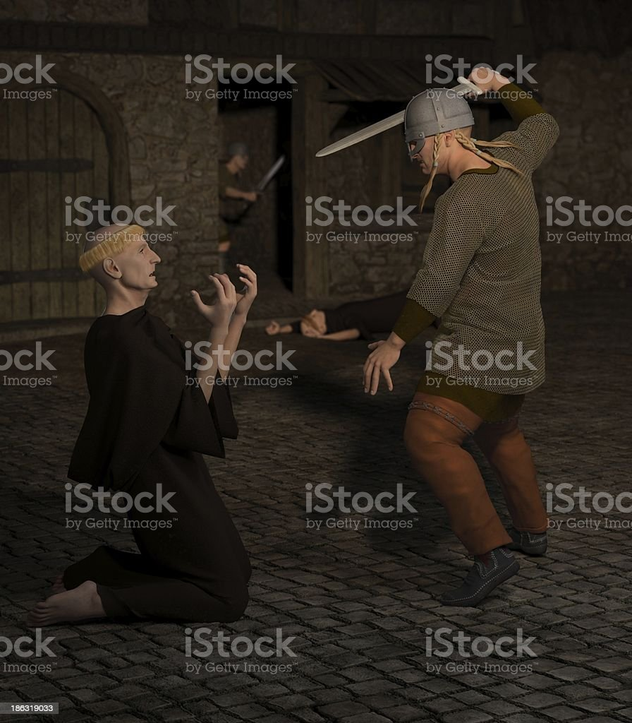 Vikings Attacking Lindisfarne Monastery stock photo