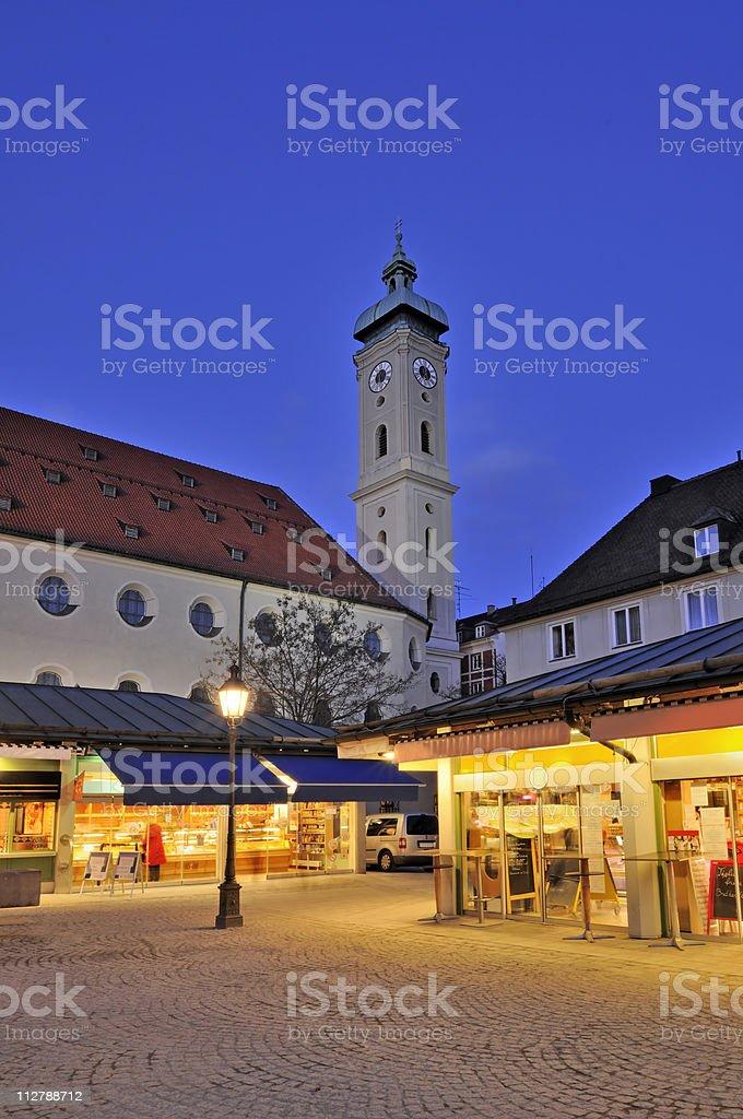 Viktualienmarkt and the Heiliggeist Church royalty-free stock photo