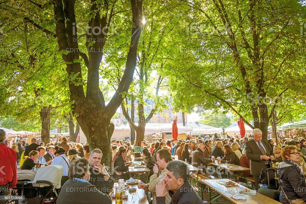 Viktualienmarkt beer garden, Munich stock photo