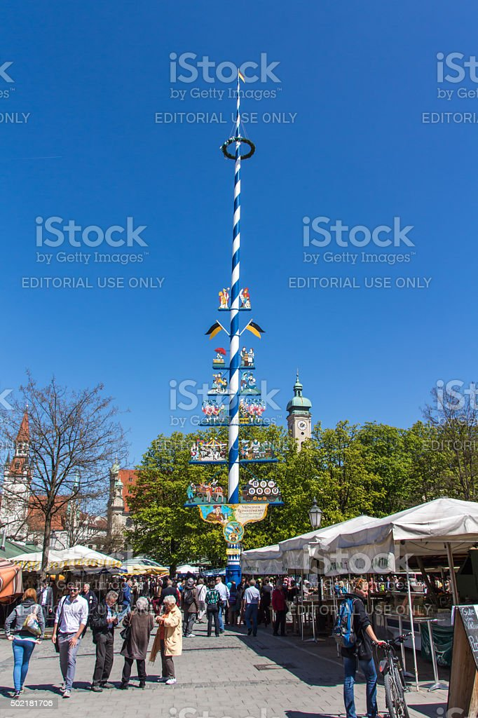 Viktualienmarkt in Munich, Bavaria, Germany, 2015 stock photo