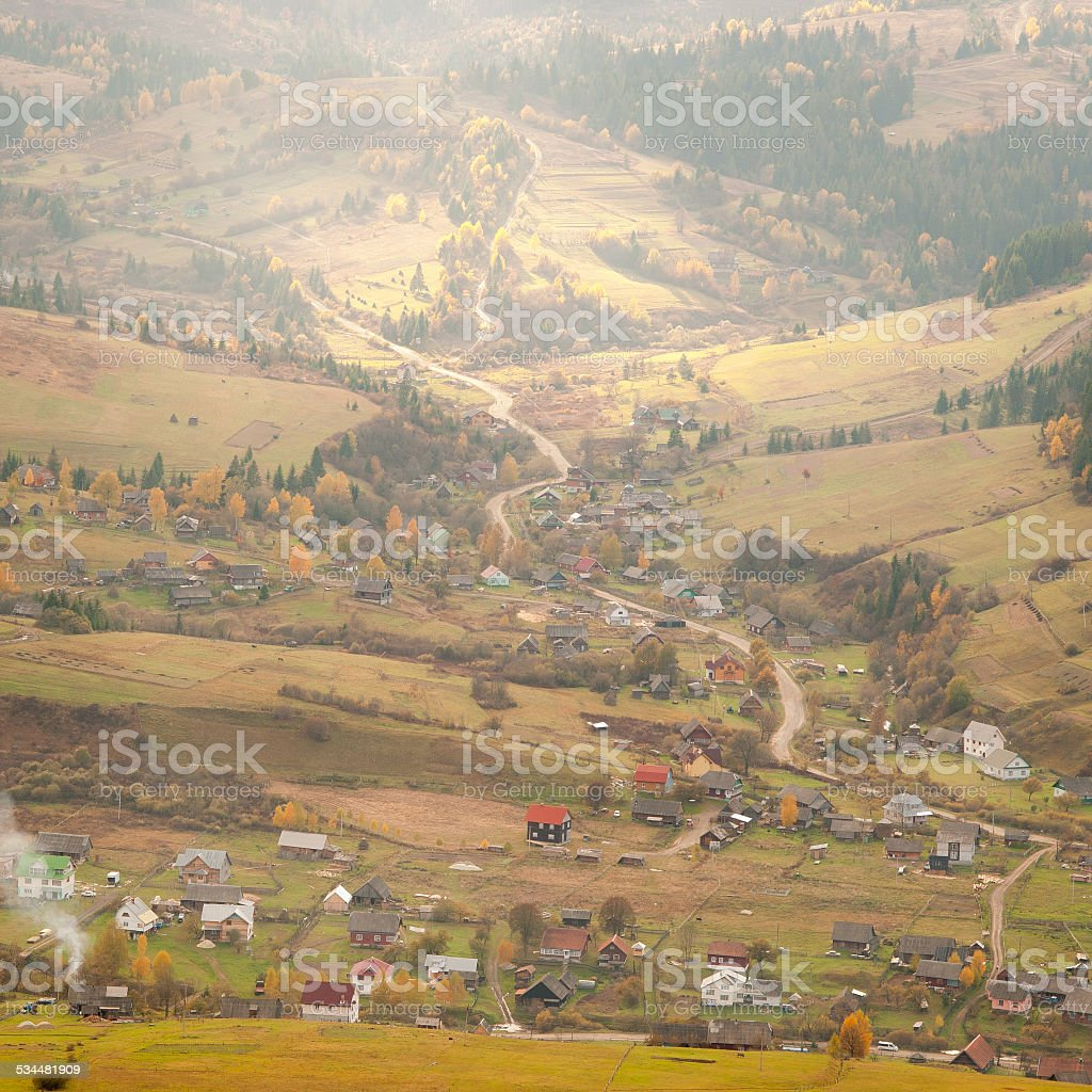 Vilage in Mountains stock photo