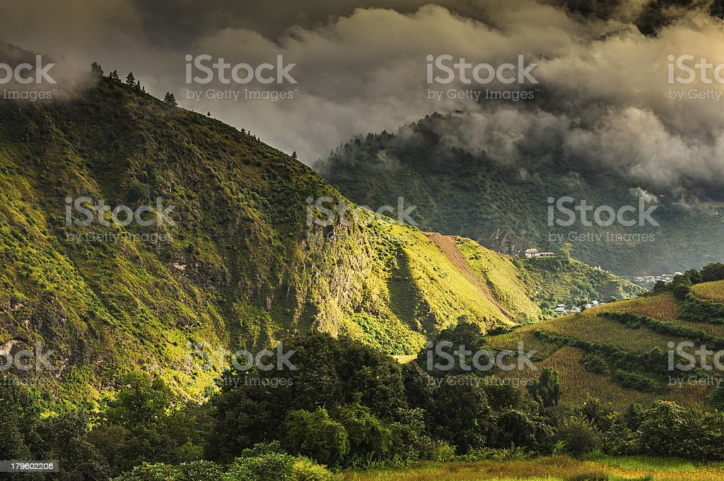 Vilage settlement in mountains, Tawang, Arunachal Pradesh, India. stock photo
