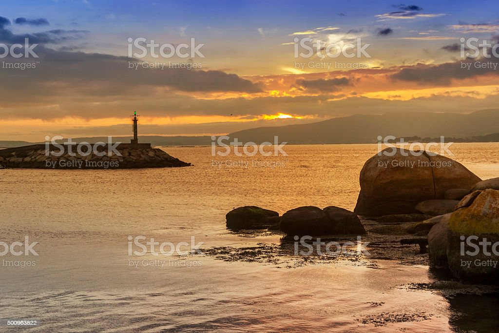 Vilaxoan fishing harbor stock photo