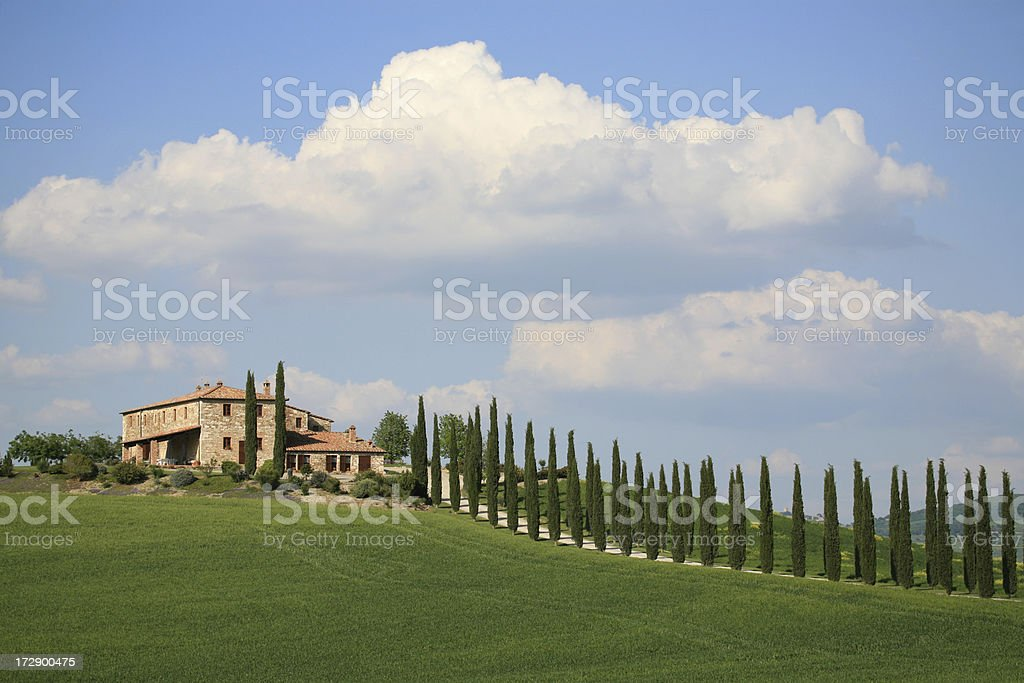 Villa and cypresses in Val d'Orcia - Tuscany, Italy royalty-free stock photo