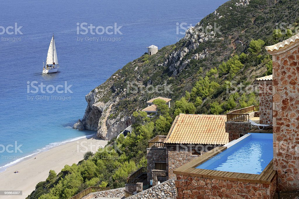 villa and swimming pool  with sea view royalty-free stock photo