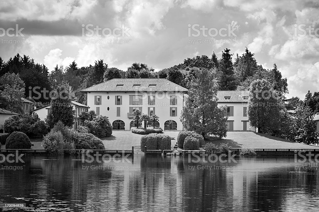 Villa. Black and White royalty-free stock photo