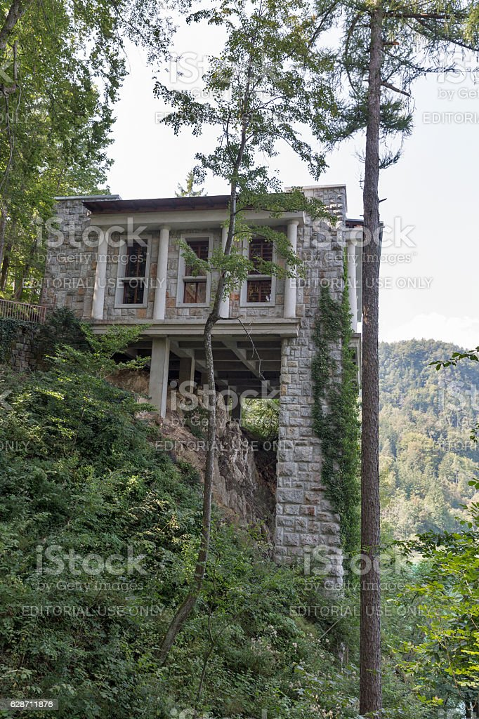 Villa Bled upper terrace in Slovenia. stock photo