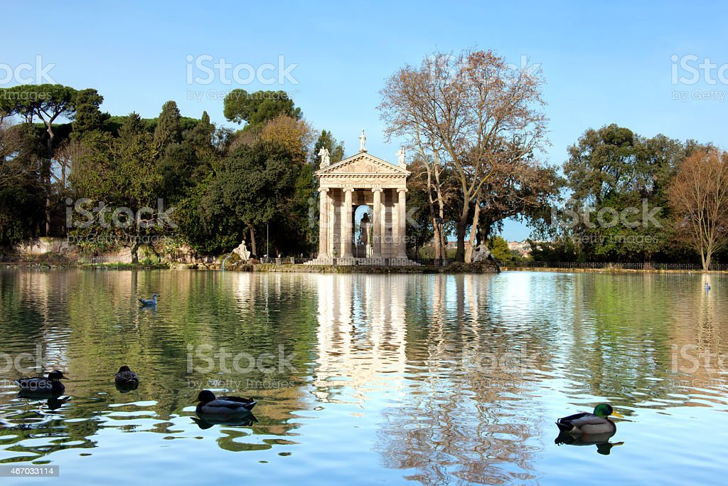 Villa Borghese Lake in Rome stock photo