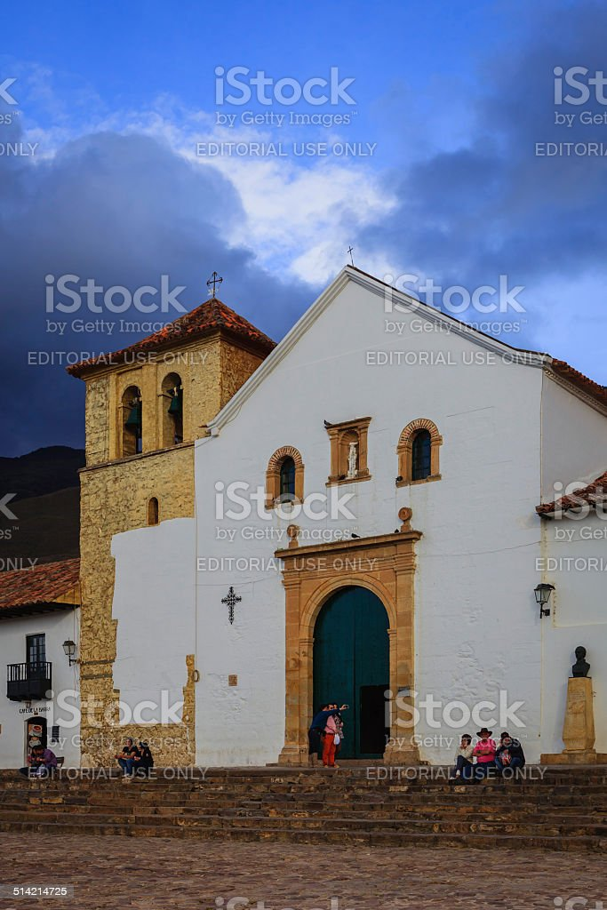 Villa de Leyva, Colombia: historic church; Spanish colonial architecture stock photo