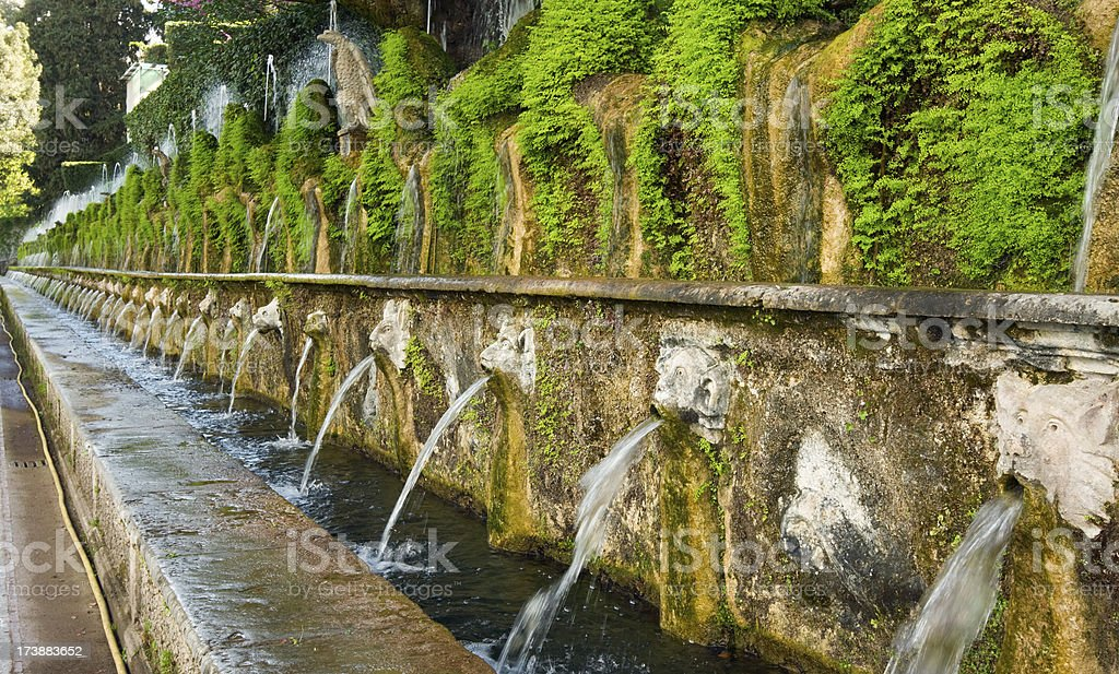 Villa d'Este gardens, Tivoli, Italy. stock photo