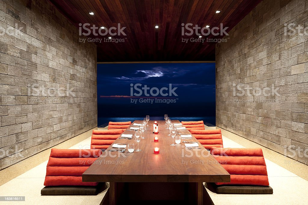 villa dining room luxury stock photo