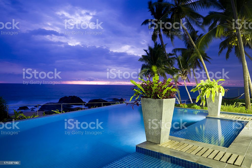 villa hotel swimming pool sri lanka stock photo