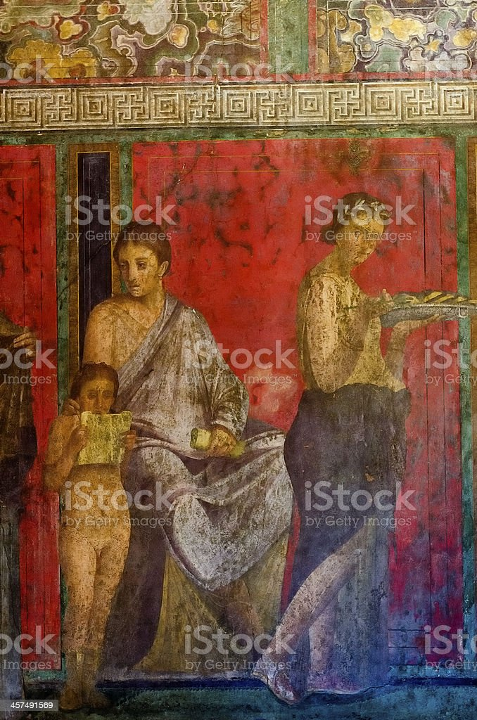Villa of Mysteries fresco, Pompeii stock photo