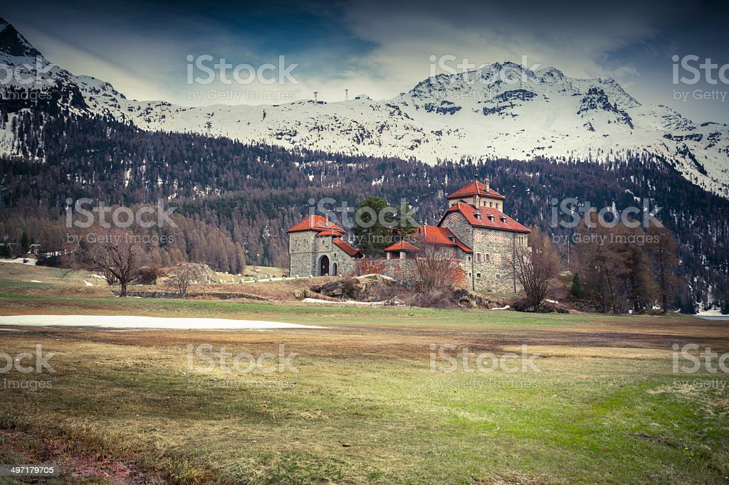 Villa on Lake Silvaplana, Alps, Switzerland royalty-free stock photo